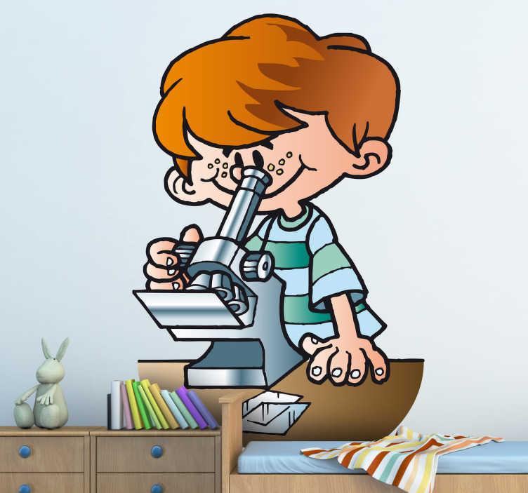 TenStickers. Young Scientist Sticker. Illustration of a little boy looking through a microscope in science class.