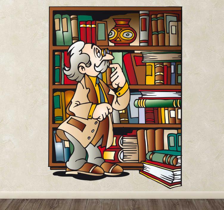 TenStickers. Naklejka biblioteka dziadka. Naklejka dekoracyjna dla dzieci przedstawiająca dziadka szukającego książki w Swojej prywatnej bibliotece.