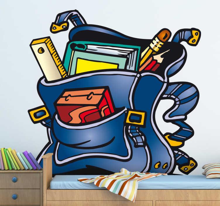 TenStickers. Schulranzen Aufkleber. Wandtattoo für das Kinderzimmer. Dieser Rucksack ist mit allen Dingen gefüllt, die man für die Schule braucht: Buch, Stifte, Lineal und einer Brotdose