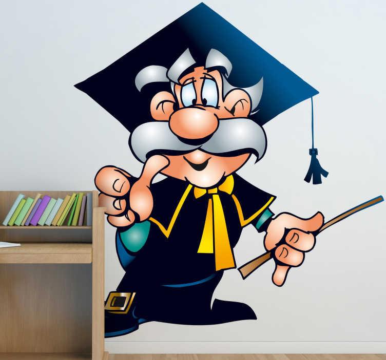 TenStickers. Naklejka wybitny profesor. Naklejka na ścianę przedstawiająca sympatycznego profesora z wąsami. Świetna propozycja dla wszystkich kochających naukę.