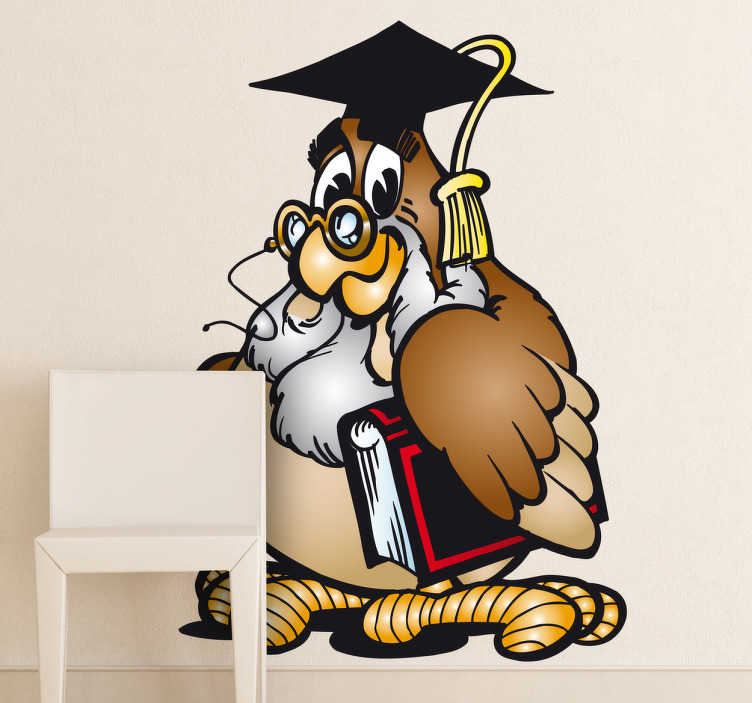 TenStickers. Owl Teacher Wall Sticker. Kids Wall Stickers - Playful illustration of a wise owl teacher. Ideal for decorating areas for children and educational establishments.