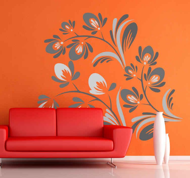 TenVinilo. Vinil decorativo floral ornamental. Vinilo decorativo de pared de lineas simples, el cual aporta un aire minimalista a cualquier espacio. Este adhesivo decorativo para pared es ideal.