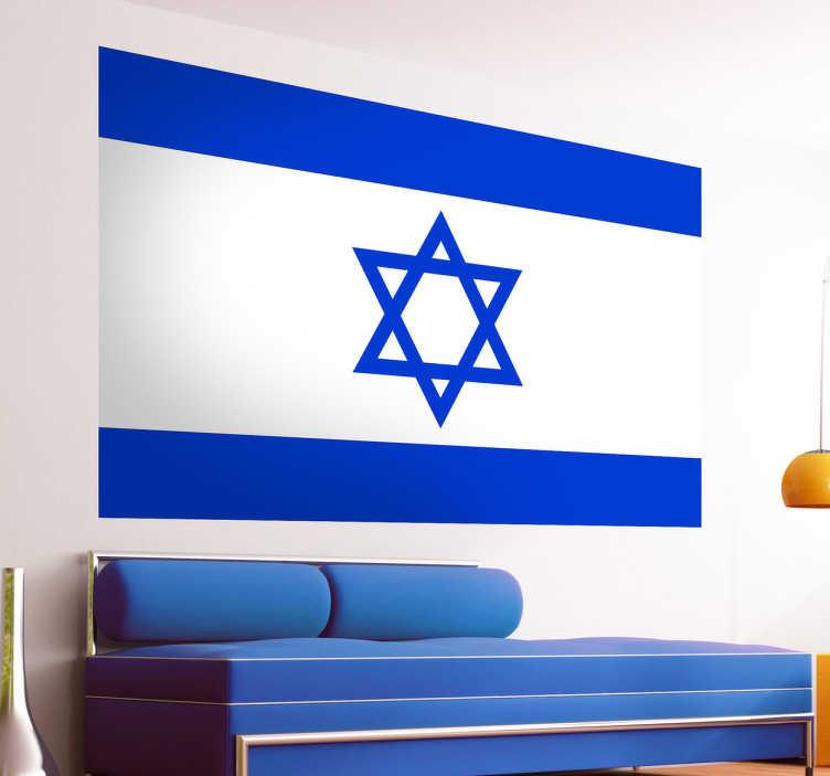 TenStickers. Muursticker vlag Israël. Laat uw liefde voor dit land zien door uw woning te decoreren met deze muursticker waar de Israëlische vlag op is afgebeeld. 10% korting bij inschrijving.
