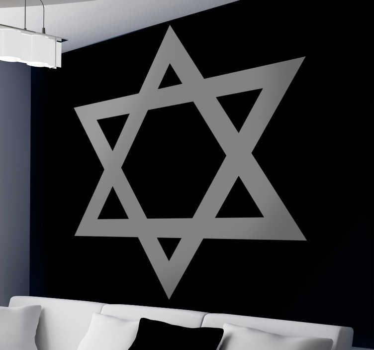 TenStickers. 데이비드 스타 스티커. 유대인 공동체를위한 데이비드 스타를 보여주는 데칼. 스타 월 스티커 컬렉션에서 독창적 인 디자인.