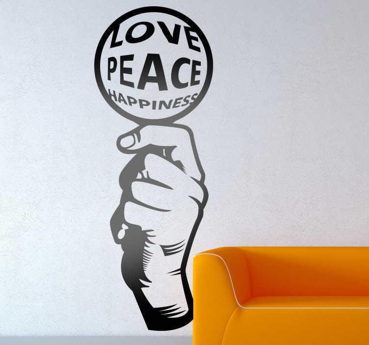 TenStickers. Naklejka dekoracyjna Love Peace Happiness. Monochromatyczna naklejka na ścianeę obrazująca dłoń trzymająca okragły znak, na którym widnieją trzy podstawowe wartości: miłość, pokój, szczeście.