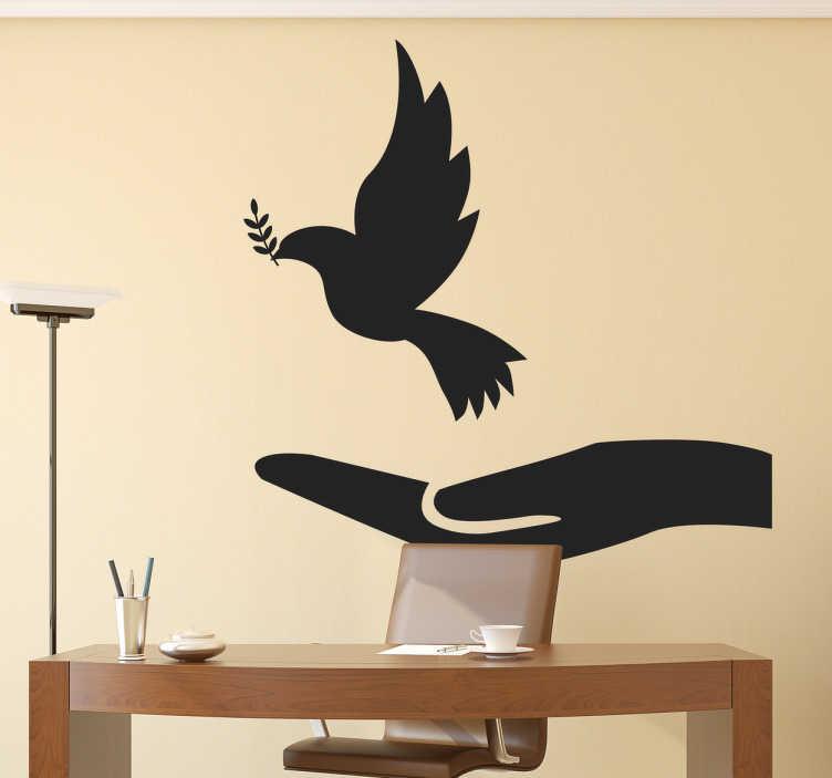 TenStickers. Muursticker vredesduif. Een muursticker met een tekening van een vredesduif! Het is een simpele maar ook elegante manier van het decoreren van je woning!