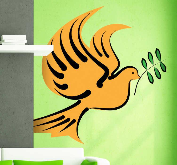TenStickers. Naklejka dekoracyjna gołąb gałązka oliwna. Naklejka dekoracyjna przedstawiająca żółtego gołąbka i gałązkę oliwną. Uniwersalny znak pokoju.