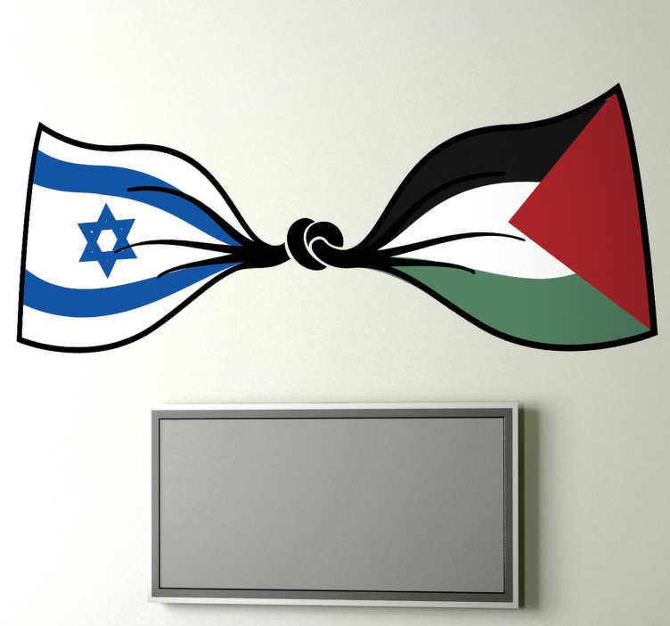 TenStickers. Sticker mural drapeau israëlo palestinien. Stickers illustrant un drapeau qui promeut la paix entre l'État d'Israël et l'État de Palestine.Adoptez ce stickers pour une décoration d'intérieur réussie.