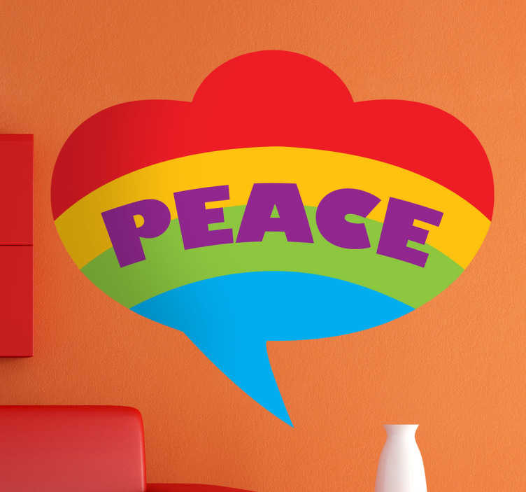 TenStickers. Sticker mural peace gay. Stickers faisant référence à la cause gay avec l'arc-en-ciel de couleurs.Adoptez ce stickers pour une décoration d'intérieur réussie.