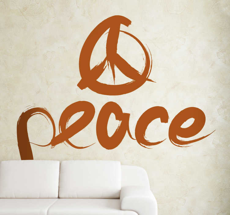 TenStickers. Peace Logo Wall Sticker. Decorate your home with this peace logo wall sticker The peace logo is recognisable throughout the world. It won´t be hard for this text decal to create an atmosphere of peace and love!