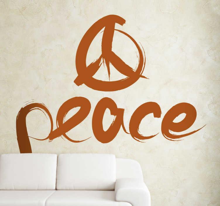 TenStickers. 평화 로고 벽 스티커. 이 평화 로고 벽 스티커로 집을 장식하십시오 평화 로고는 전 세계에 걸쳐 인식 할 수 있습니다. 이 텍스트 데칼로 평화와 사랑의 분위기를 조성하는 것이 어려울 것입니다!