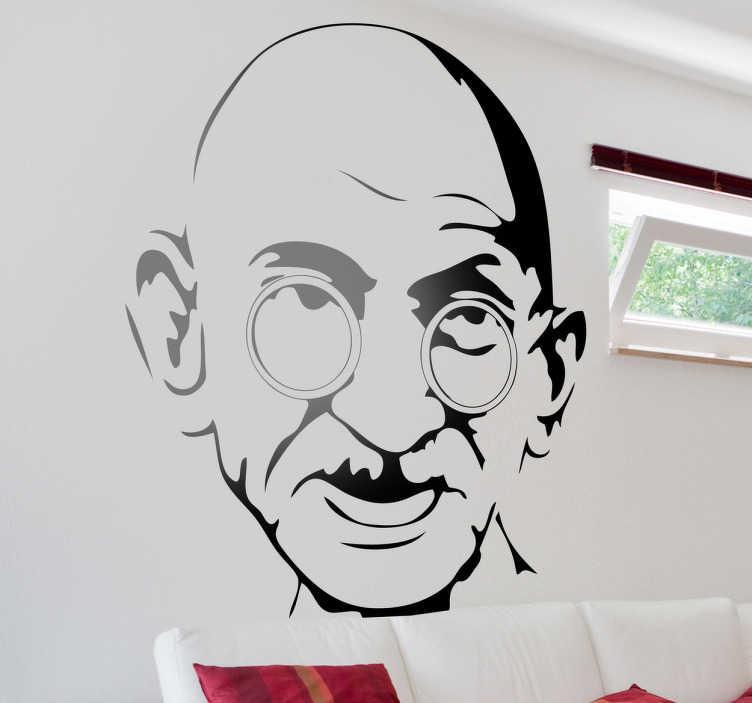 TenStickers. Vinil decorativo retrato Gandhi. Autocolante do famoso líder pacifista indiano, para os seguidores desta personagem histórico, Gandhi.