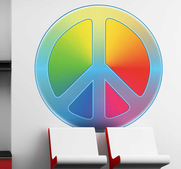 TENSTICKERS. カラフルな平和のステッカー. ヒッピーの動きの有名な平和のシンボルを示す素晴らしいロゴの壁のステッカー。この多色のデカールは、あらゆる空間を飾るのに最適です。あなたが平和になって平和でカラフルな雰囲気を作りたいなら、このロゴデザインはあなたの家には最適です。