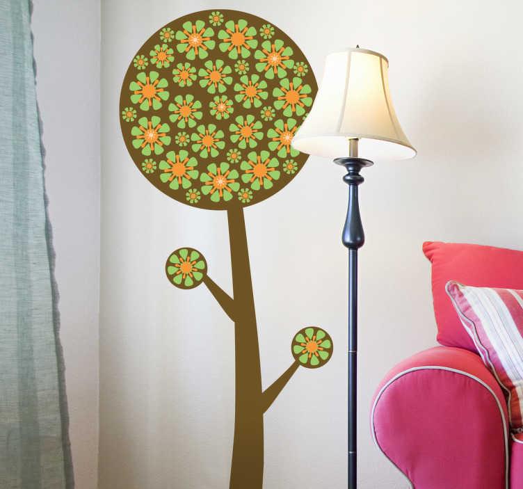 TenStickers. Naklejka bajowy kwiat. Naklejka na ścianę przedstawiająca oryginalne drzewo pokryte różnej wielkości kwiatami. Naklejka dostępna jest w różnych rozmiarach.