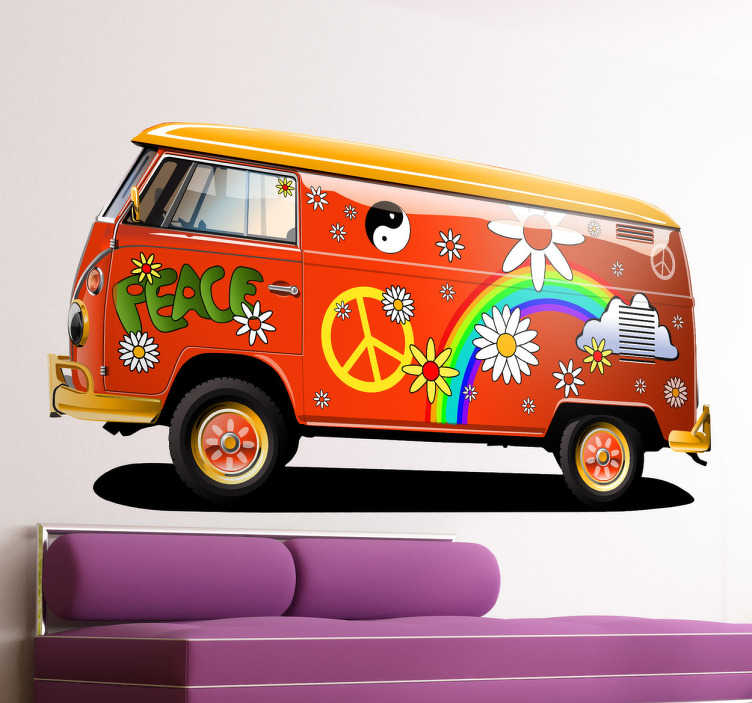 TenStickers. Naklejka dekoracyjna furgonetka hippie. Naklejka na ścianę przedstawiająca charakterystyczny pojazd z lat 60-tych, zwolenników pacyfizmu.