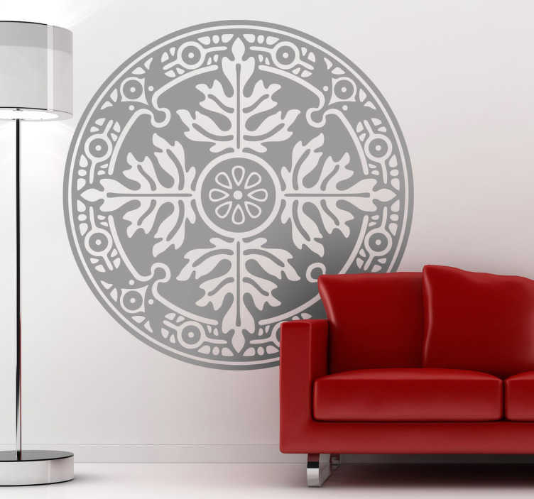 TenStickers. Floral Rosette Mural Wall Sticker. Decals - Floral pattern design. Distinctive feature for your home or business. Available in various sizes and in 50 colours.