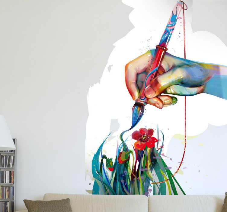 Naklejka dłoń malarza