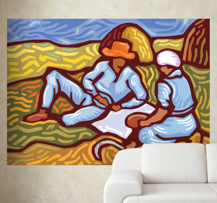 TenStickers. Van Gogh Style Wall Sticker. A wall sticker with an illustration of two people in a field with a Van Gogh style design.