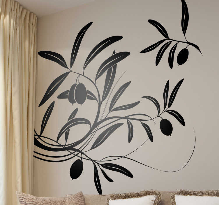 TenStickers. Sticker tak olijfboom. Muursticker met hierop een voorstelling van een tak van een olijfboom met hieraan olijven. Een prachtige wandsticker voor de decoratie van uw woning.