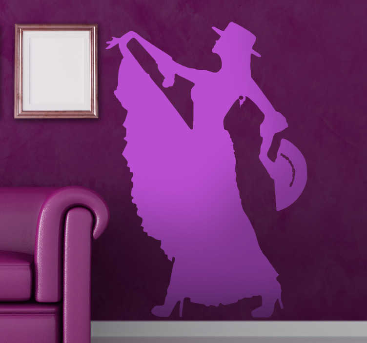 TenVinilo. Vinilo decorativo artista flamenco. Espectacular adhesivo de una silueta de una bailaora con bata de cola y abanico.