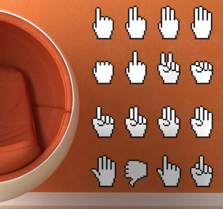 TenStickers. Sticker mural curseur souris. Ensemble de stickers illustrant la main la plus célèbre du XXIe siècle : le curseur de l'ordinateur.Adoptez ce stickers pour une décoration d'intérieur réussie.*Les dimensions indiquées sont pour l'ensemble du stickers.