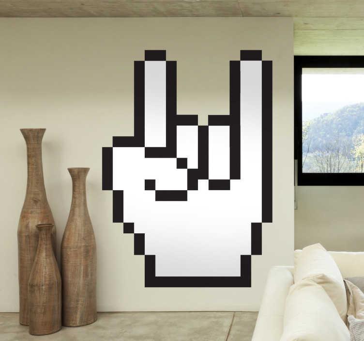TenStickers. Sticker decorativo cursore corna. Adesivo murale che raffigura una mano che fa il celebre gesto delle corna. Una decorazione alternativa ed irriverente per la camera da letto.