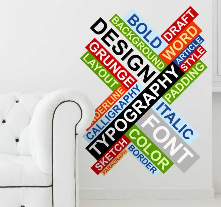TenStickers. Naklejka typografia. Kolorowa naklejka składająca się z wielu słów dotyczacych dziedziny typografii.