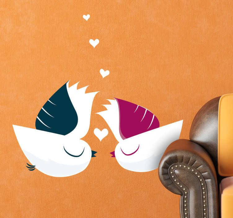 TenVinilo. Vinilo decorativo dos pájaros amor. Lindo diseño adhesivo de dos aves macho y hembra dándose besitos.