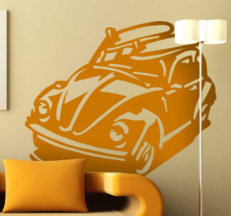 TenVinilo. Vinilo decorativo escarabajo surfero. Silueta adhesiva de un Volkswaggen Beetle con dos tablas de surf en el techo.