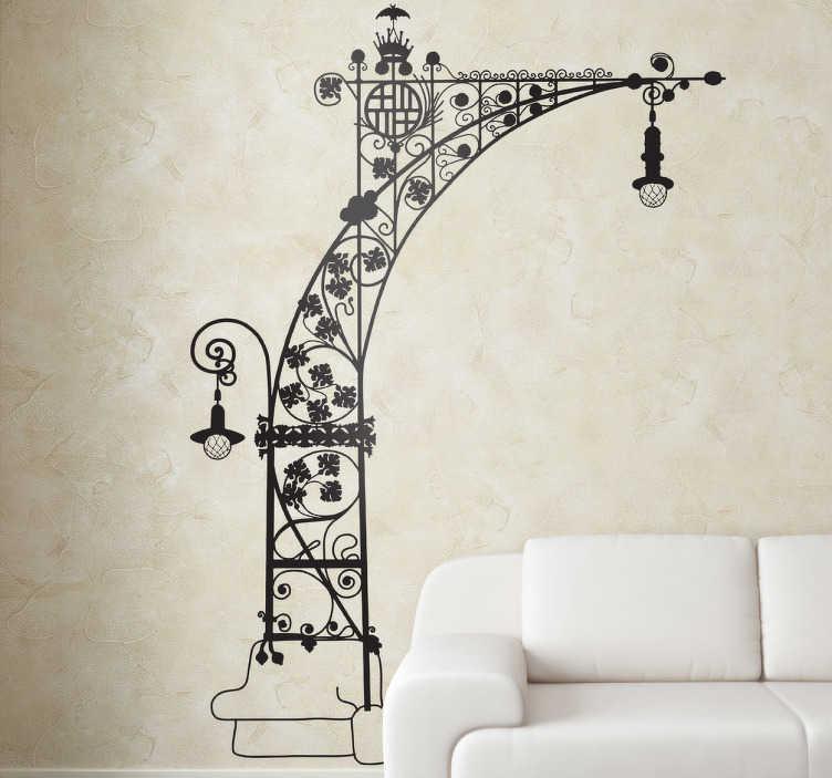 TenVinilo. Vinilo decorativo farola Gaudí Barcelona. Espectacular diseño de vinilos Barcelona con el dibujo de perfil de las luces modernistas de Paseo de Gracia