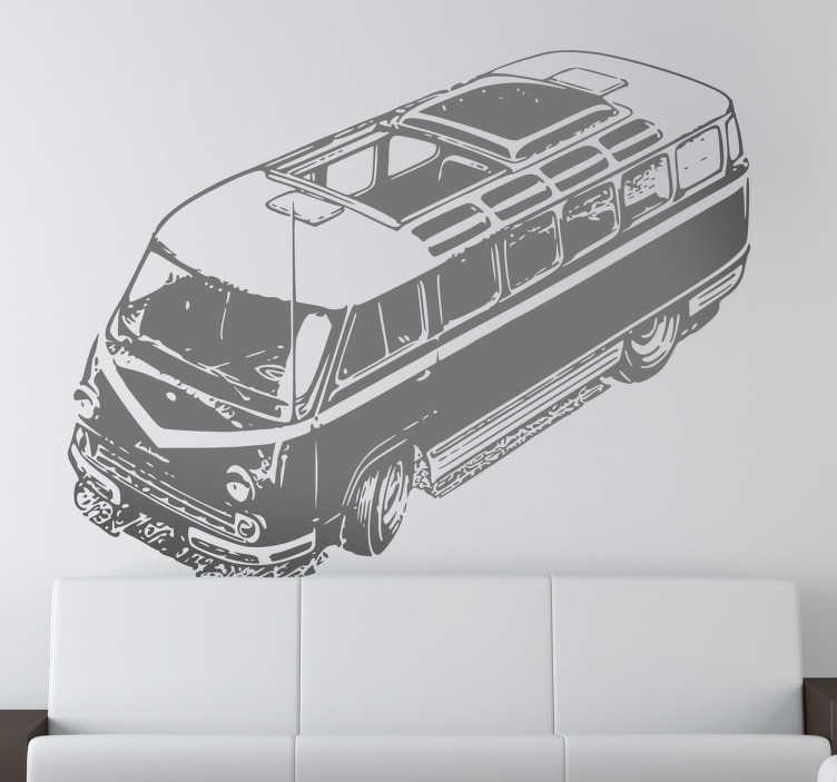 TenStickers. Naklejka klasyczna furgonetka. Naklejka dekoracyjna przedstawiająca klasycze, vintage auto z górnej perspektywy. Spersonalizuj naklejkę poprzez wybór koloru i rozmiaru.