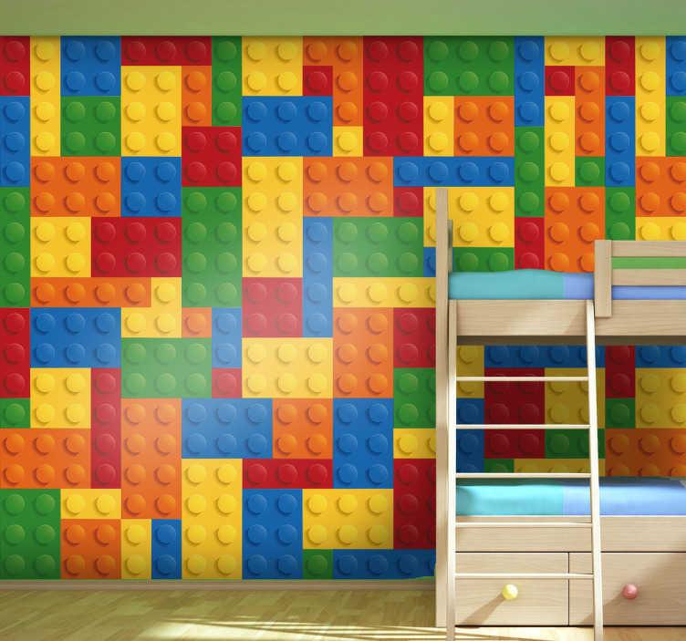 TenVinilo. Vinilo decorativo patrón lego. Espectacular textura adhesiva de colores con piezas de construcciones para niños.