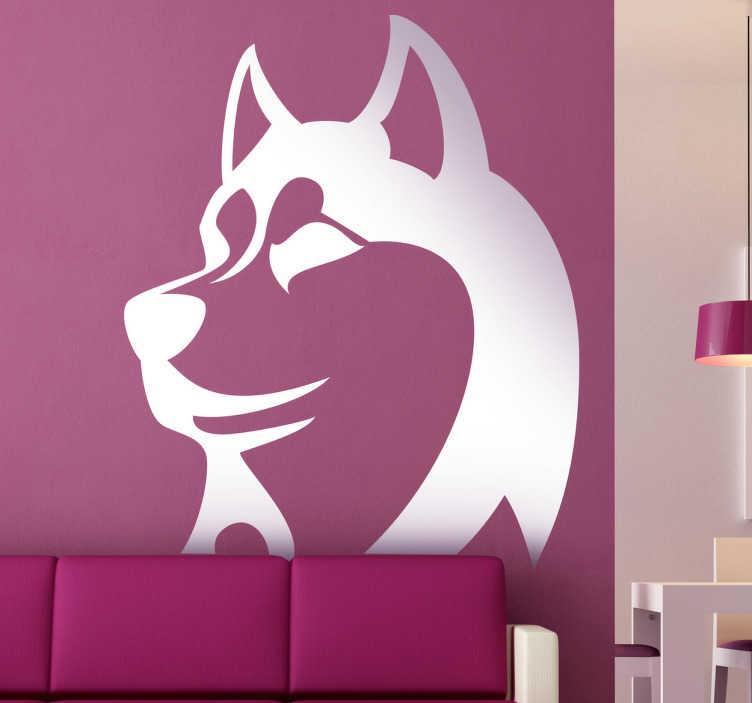 TenStickers. 실루엣 벽 스티커. 강아지 벽 decals- 강아지 애 인을 위해 중대 한 시베리아 거친의 실루엣 그림. 50 가지 색상과 다양한 크기로 제공됩니다.