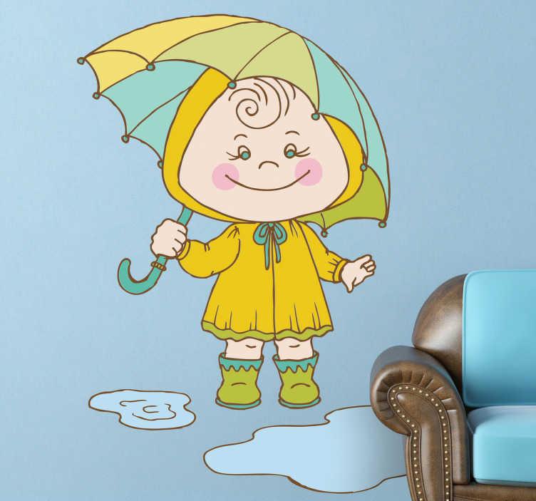 TenStickers. Sticker enfant jour de pluie. Stickers illustrant une petite fille de sortie un jour de pluie : bottines en caoutchouc, imperméable et parapluie, la panoplie est complète !