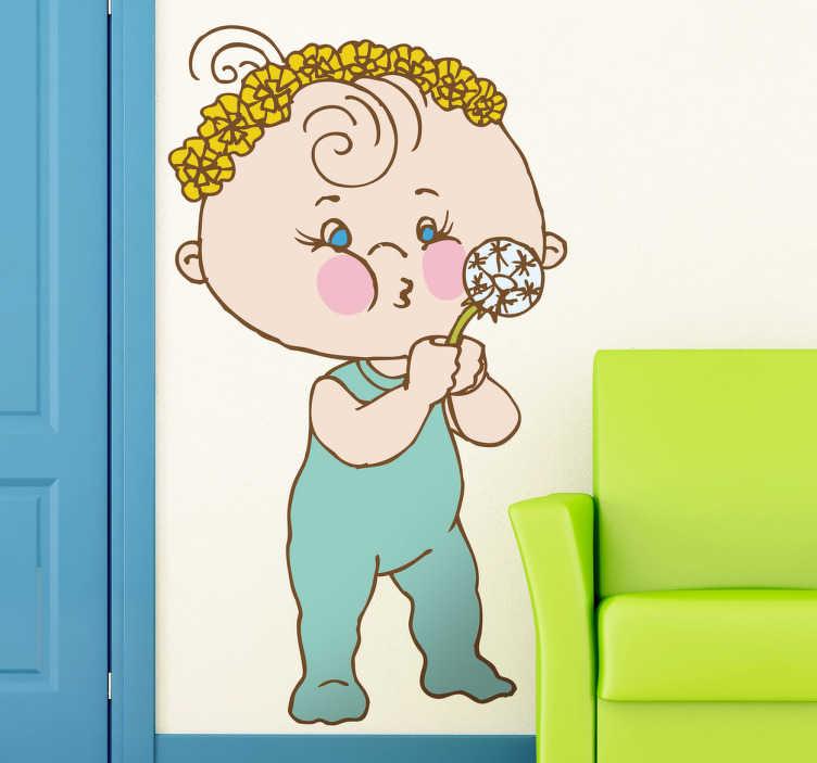 TenStickers. Wandtattoo Kinderzimmer Baby mit Pusteblume. Dekorieren Sie das Babyzimmer oder auch das Kinderzimmer mit diesem süßen Wandtattoo von einem Kleinkind, dass auf eine Pusteblume pustet!