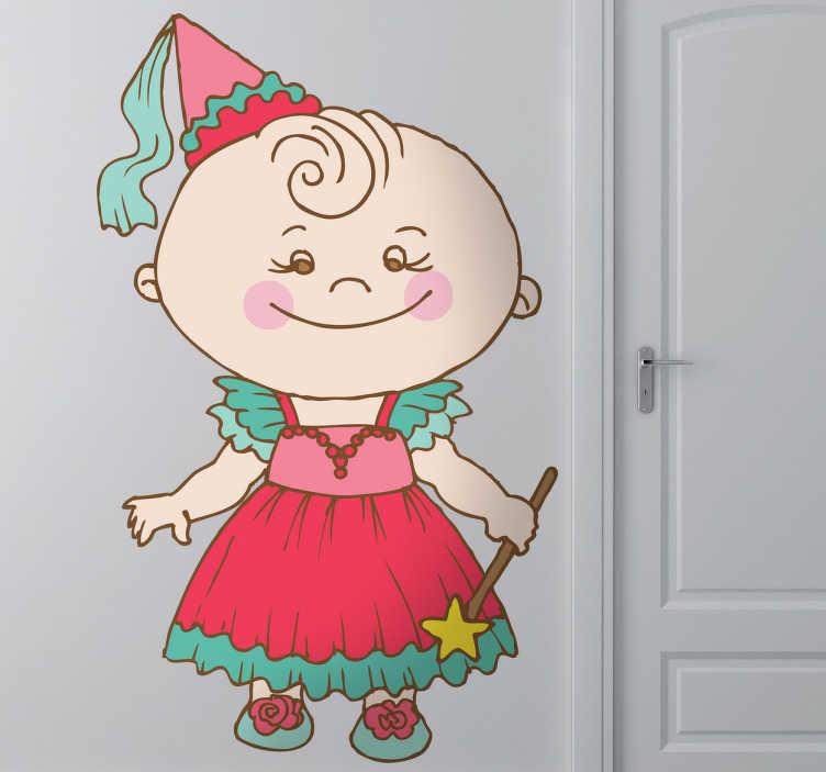 TenStickers. Sticker enfant bébé princesse. Dessin en stickers illustrant un jolie petite fille avec une robe de princesse.Super idée déco pour la chambre d'enfant ou pour la personnalisation de son matériel.