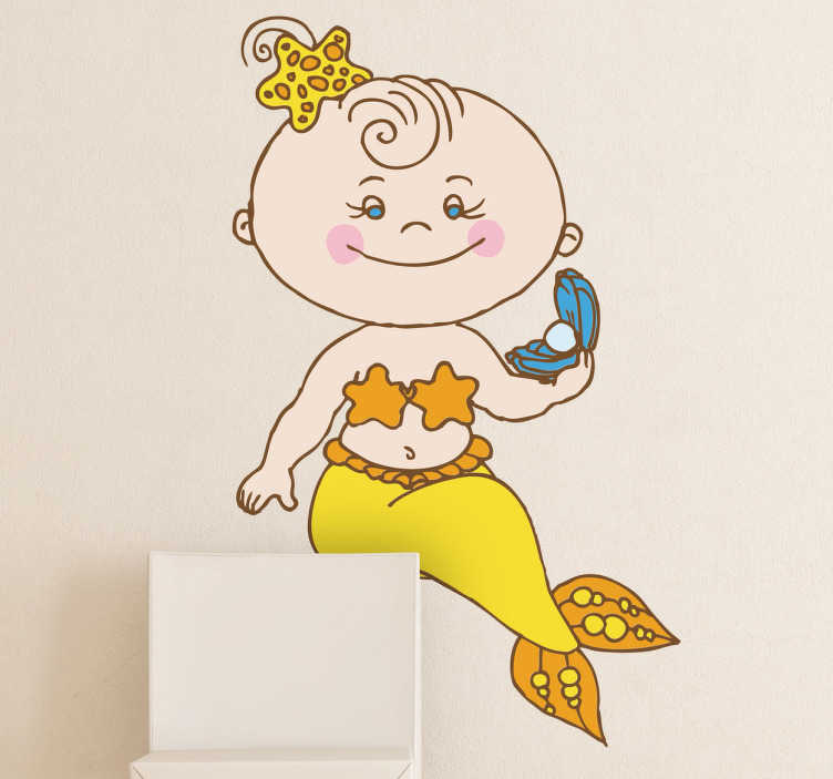 TenStickers. Baby Mermaid Kids Sticker. A decorative mermaid decal illustrating a little girl dressed up as a mermaid holding a pearl from our collection of mermaid wall stickers.