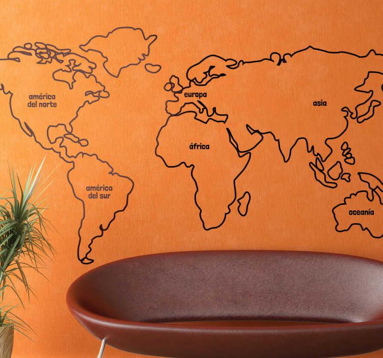 TenVinilo. Vinilo mapa del mundo línea. Dibujo adhesivo en línea de los continentes perfilados y el nombre dentro de cada uno.