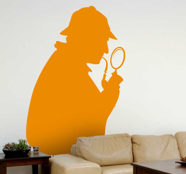 TenStickers. Sherlock Holmes Aufkleber. Sind Sie ein Fan der bekannten Romane von Arthur Conan Doyle? Dann ist dieses Detektiv Wandtattoo die passende Wanddeko für Ihr Zuhause.