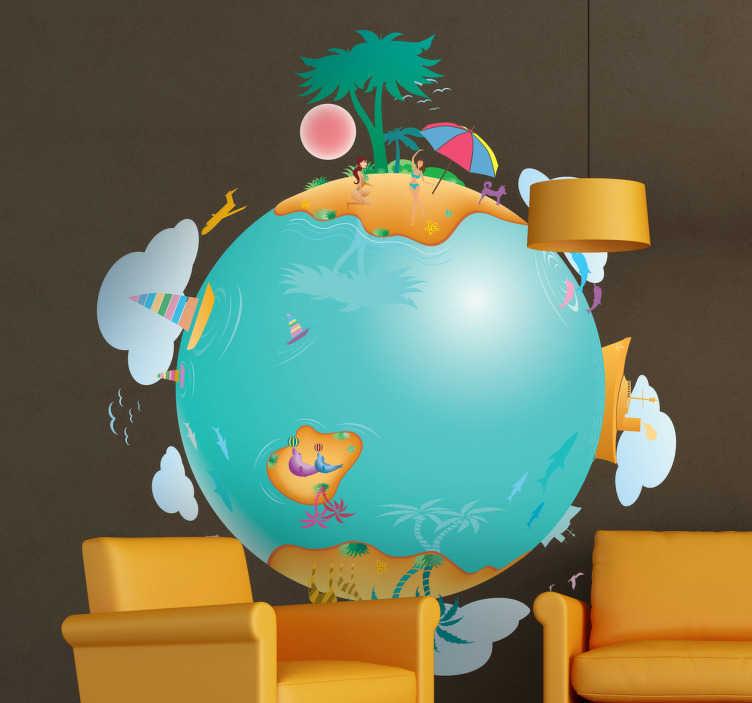 TenStickers. Wereld levend planeet sticker. Ben jij internationaal ingesteld? Dan wil je vast deze levendige planeet sticker! Je ziet de wereldbol met allemaal verschillende activiteiten bezig.