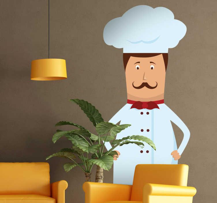 TenStickers. Naklejka dekoracyjna zawód kucharz. Naklejka dekoracyjna przedstawiająca wybitnego kucharza z wąsami w stylu włoskim.