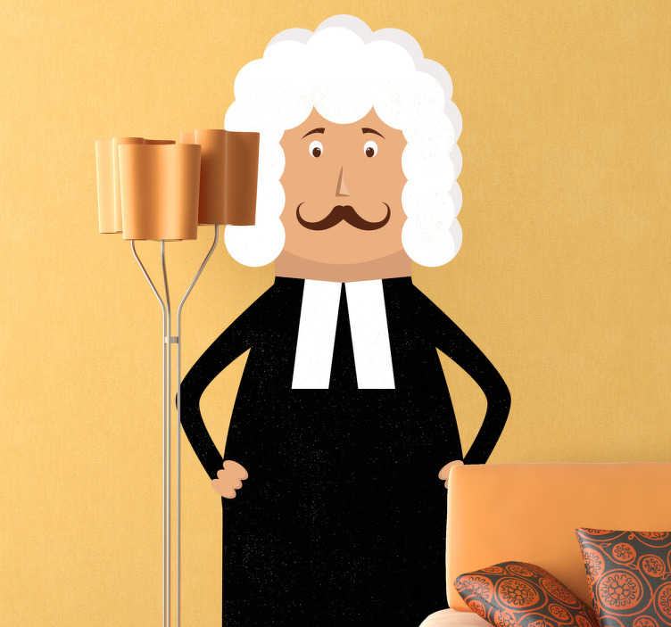 TenStickers. Sticker métier juge. Une illustration originale d'un juge en tenue classique : perruque blanche et robe noire sur sticker pour personnaliser votre décoration.