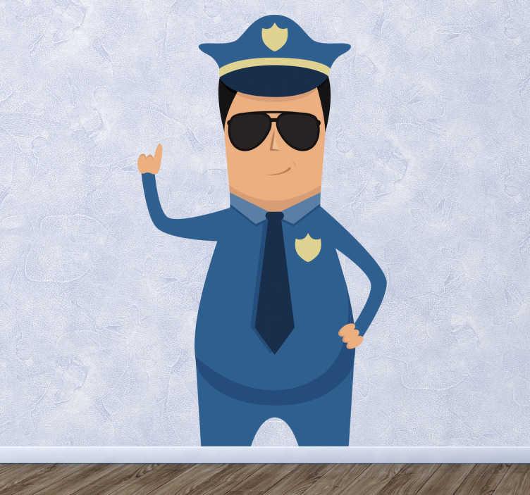 TenStickers. Sticker politieagent. Een muursticker van een politieagent in uniform met een zonnebril op. Gebruik deze mooie wandsticker voor de decoratie van uw huis.