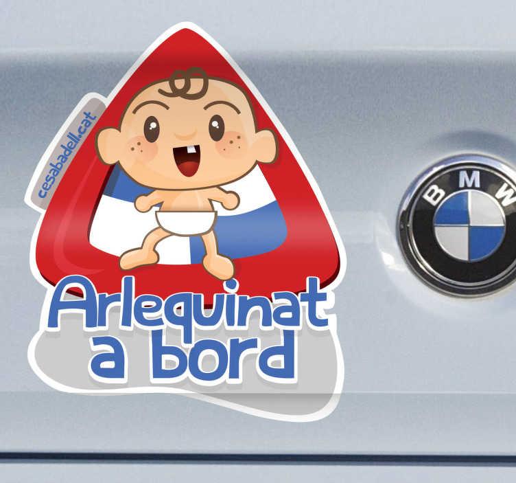 TenVinilo. Adhesivo arlequinat a bord. Original dibujo adhesivo para que muestres al resto de conductores cuáles son tus colores y de tu hijo.