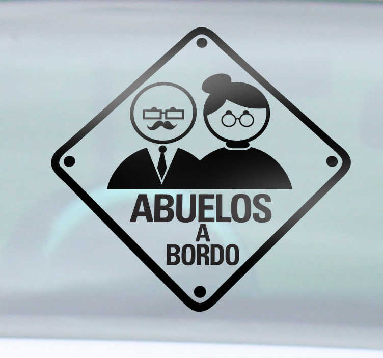 TenVinilo. Vinilo decorativo abuelos a bordo. Adhesivo con el que podrás advertir al resto de conductores que en tu vehículo viajan tus progenitores más ancianos.