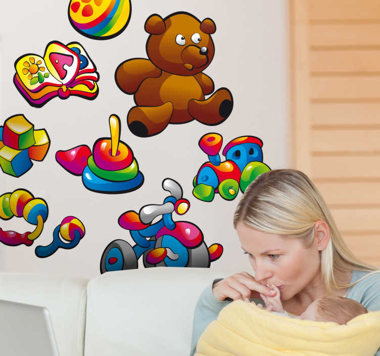 TenStickers. Sticker baby kleuren speelgoed. Deze sticker omtrent allerlei leuke kinderlijke speeltjes in felle kleuren. Ideaal voor het decoreren van de kinderkamer. Snelle klantenservice.
