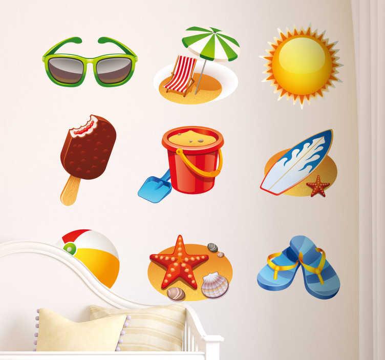 TenStickers. Sticker decorativo collezione spiaggia. Set di adesivi decorativi che raffigurano diversi elementi relazionati alla spiaggia e all'estate:occhiali da sole,tavola da surf,infradito, ecc.