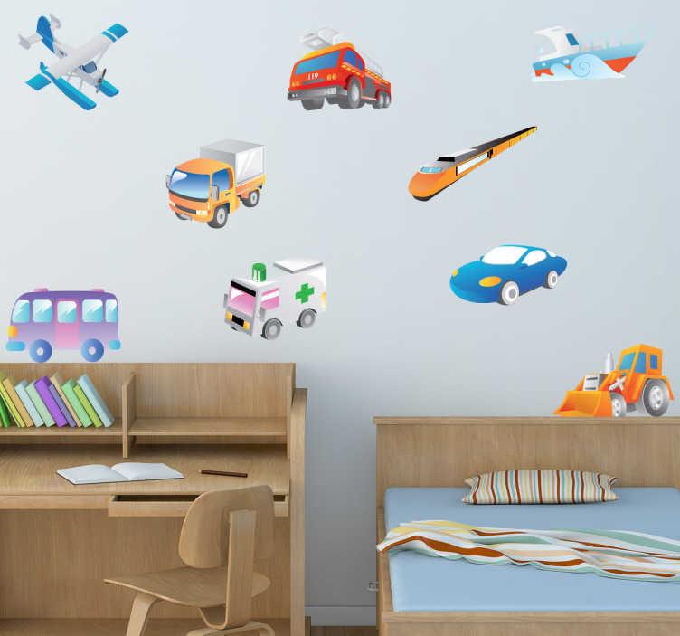 TenStickers. 자동차 벽 스티커의 아이들 수집. 아이들 침실 데칼 - 당신의 아이들 벽에 달라 붙을 차량 수집. 자녀에게 교통의 다른 모드가 무엇인지 가르쳐주는 훌륭한 교육용 벽 스티커.