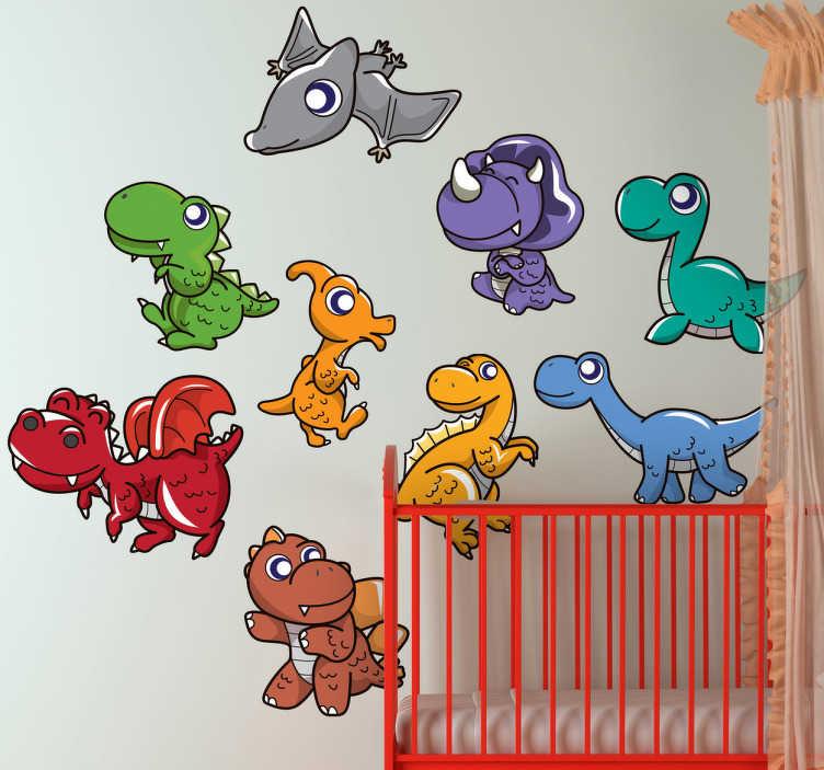 TenStickers. Sticker kinderkamer set dinosaurussen. Een set muursticker van allerlei soorten dinosaurussen in verschillende kleuren. Een prachtige set stickers voor de decoratie van de kinderkamer.