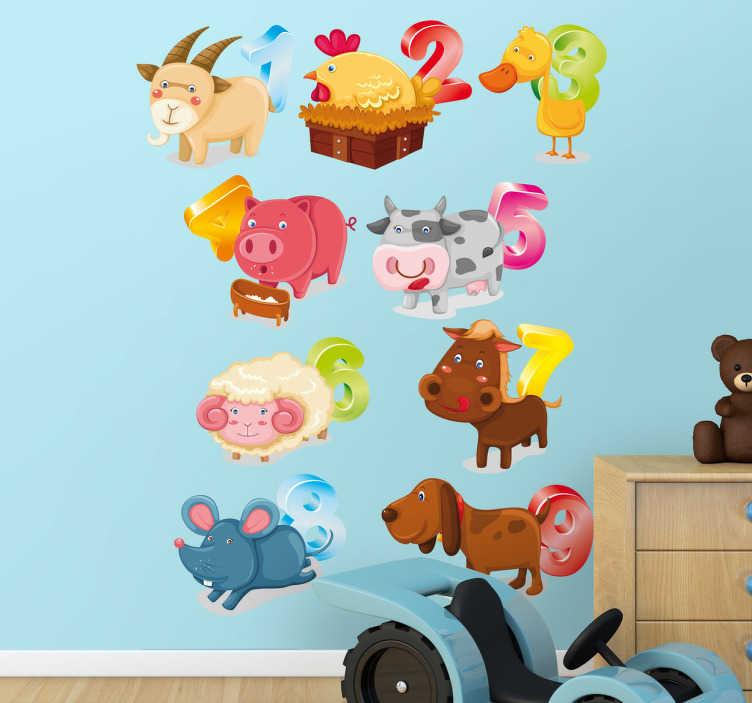 TenStickers. Sticker kinderen dieren en nummers. Creatieve muursticker dat uw kinderen helpt te leren tellen op een leuke en simpele manier. U kan de volgorde van de stickers zelf bepalen.